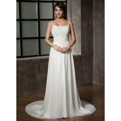 A-Line/Princess Scoop Neck Chapel Train Chiffon Wedding Dress With Ruffle Beading Sequins