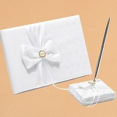 White Bow Sequin/Sash Guestbook & Pen Set