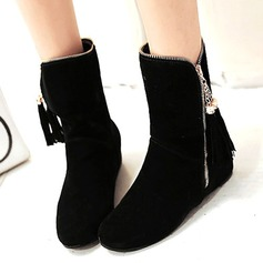 Women's Suede Low Heel Platform Mid-Calf Boots shoes