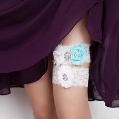 Attractive Lace/Chiffon With Rhinestone/Imitation Pearls Wedding Garters