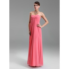 Empire Sweetheart Floor-Length Chiffon Chiffon Maternity Bridesmaid Dress With Ruffle (045022460)