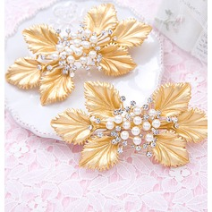 Leaves Shaped Gold Plated Combs & Barrettes (Set of 2)