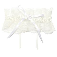Elegant Lace With Flower/Pearl Wedding Garters