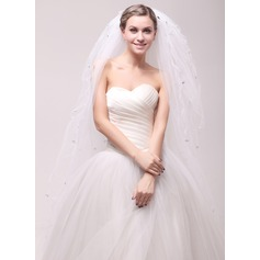 Ten-tier Cut Edge Waltz Bridal Veils With Rhinestones