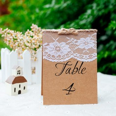 Rectangular Lint/Lace/Kraft Paper Table Number Cards