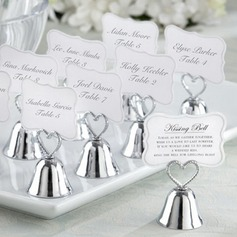 "Heart Topped ""Kissing Bell"" Metal Place Card Holders"