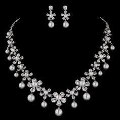 Charming Pearl/Zircon Ladies' Jewelry Sets