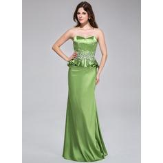 Sheath/Column Sweetheart Floor-Length Charmeuse Evening Dress With Beading Cascading Ruffles