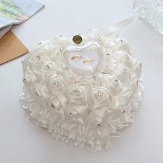 Heart Shaped Ring Pillow in Satin/Soap Flower With Ribbons/Flowers