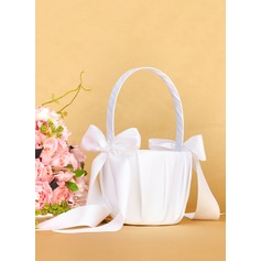 Satin With Bow Flower Basket (198076174)
