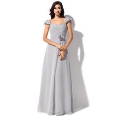A-Line/Princess Sweetheart Floor-Length Chiffon Bridesmaid Dress With Flower(s) Bow(s) Cascading Ruffles