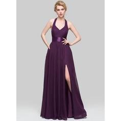 A-Line/Princess V-neck Floor-Length Chiffon Evening Dress With Ruffle Bow(s) Split Front
