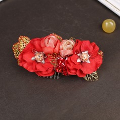 Special Crystal/Rhinestone/Alloy/Net Yarn Combs & Barrettes/Flowers & Feathers