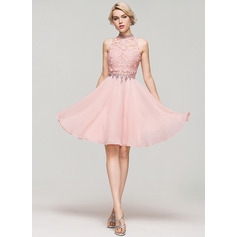 A-Line/Princess High Neck Knee-Length Chiffon Cocktail Dress With Beading Sequins (016091229)