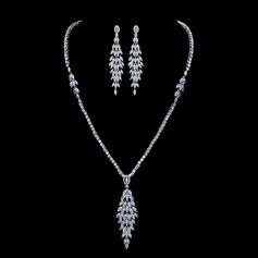 Elegant Copper/Zircon With Rhinestone Ladies' Jewelry Sets