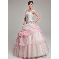 Ball-Gown One-Shoulder Floor-Length Organza Quinceanera Dress With Ruffle Beading Appliques Lace