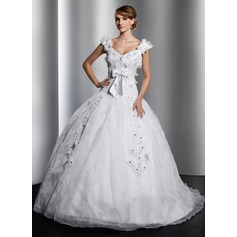 Ball-Gown V-neck Court Train Satin Organza Wedding Dress With Lace Beading Flower(s) Bow(s)
