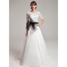 A-Line/Princess Scoop Neck Chapel Train Organza Wedding Dress With Lace Sash Beading