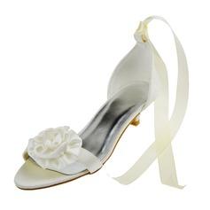 Women's Satin Low Heel Peep Toe Sandals With Flower