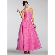 A-Line/Princess Sweetheart Ankle-Length Organza Quinceanera Dress With Embroidered Beading Sequins