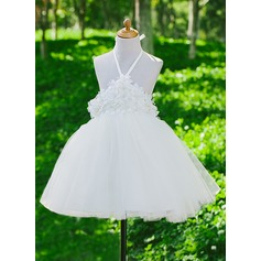 A-Line/Princess Flower Girl Dress - Satin/Tulle Sleeveless Halter With Flower(s)