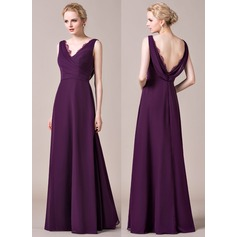 A-Line/Princess V-neck Floor-Length Chiffon Bridesmaid Dress With Ruffle Lace