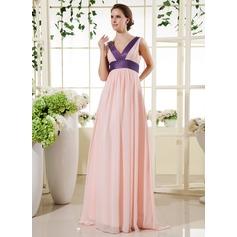 Empire V-neck Floor-Length Chiffon Holiday Dress With Sash