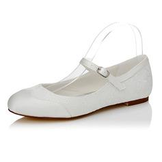 Women's Satin Flat Heel Closed Toe