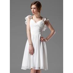A-Line/Princess V-neck Knee-Length Chiffon Bridesmaid Dress With Beading Cascading Ruffles