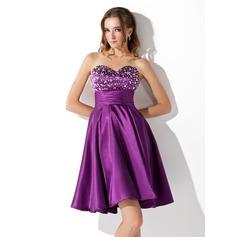 Empire Sweetheart Short/Mini Charmeuse Homecoming Dress With Ruffle Beading