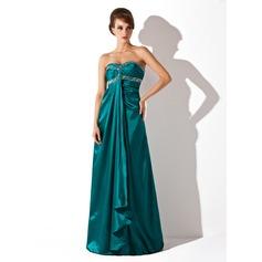 Empire Sweetheart Floor-Length Charmeuse Holiday Dress With Ruffle Beading