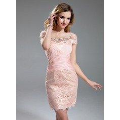 Sheath/Column Square Neckline Short/Mini Chiffon Charmeuse Lace Cocktail Dress With Ruffle Beading