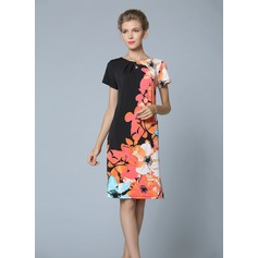 Polyester/Knitting With Print Knee Length Dress (199087065)