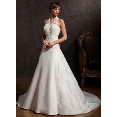 A-Line/Princess Halter Chapel Train Satin Wedding Dress With Beading Appliques Lace Sequins