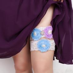 Charming Lace/Chiffon With Rhinestone/Imitation Pearls Wedding Garters