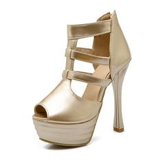 Women's Patent Leather Stiletto Heel Sandals Platform Peep Toe shoes