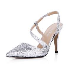 Women's Sparkling Glitter Stiletto Heel Closed Toe Pumps Slingbacks