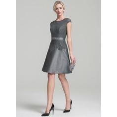 A-Line/Princess Scoop Neck Knee-Length Taffeta Mother of the Bride Dress With Beading Sequins