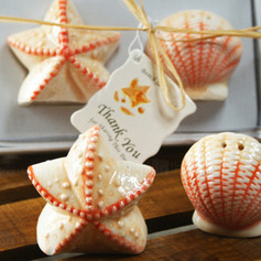 Shell & Star Ceramic Salt & Pepper Shakers With Tag