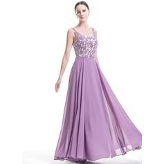A-Line/Princess Square Neckline Floor-Length Chiffon Evening Dress With Beading Appliques Lace Sequins