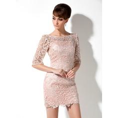 Sheath/Column Scoop Neck Short/Mini Lace Mother of the Bride Dress