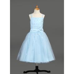 A-Line/Princess Tea-length Flower Girl Dress - Satin/Tulle Sleeveless With Ruffles/Sequins