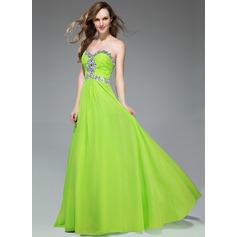 Empire Sweetheart Sweep Train Chiffon Prom Dress With Ruffle Beading