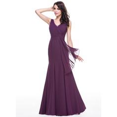 Trumpet/Mermaid V-neck Floor-Length Chiffon Evening Dress With Lace Cascading Ruffles