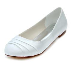 Women's Silk Like Satin Stiletto Heel Closed Toe Flats