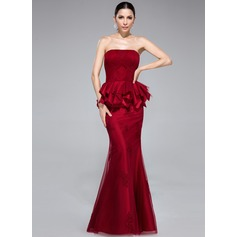 Trumpet/Mermaid Strapless Floor-Length Tulle Evening Dress With Appliques Lace Cascading Ruffles