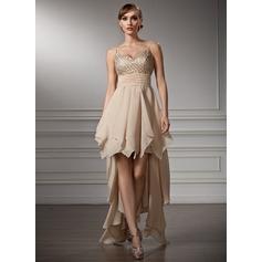 A-Line/Princess V-neck Asymmetrical Chiffon Homecoming Dress With Beading Cascading Ruffles
