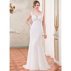 Trumpet/Mermaid Sweetheart Watteau Train Chiffon Wedding Dress With Ruffle Lace Beading Sequins