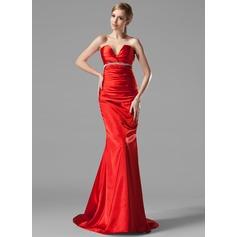 Trumpet/Mermaid V-neck Sweep Train Charmeuse Evening Dress With Ruffle Beading