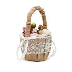 Linen With Lace Flower Basket (198076179)